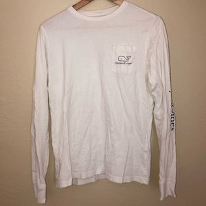 VINEYARD VINES POCKET LONG SLEEVE T WITH NAVY LOGO